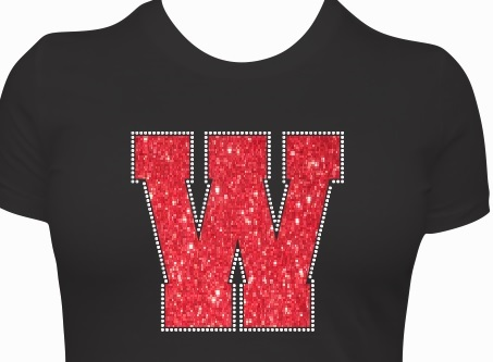 Varsity Letter with Rhinestone Outline Transfer